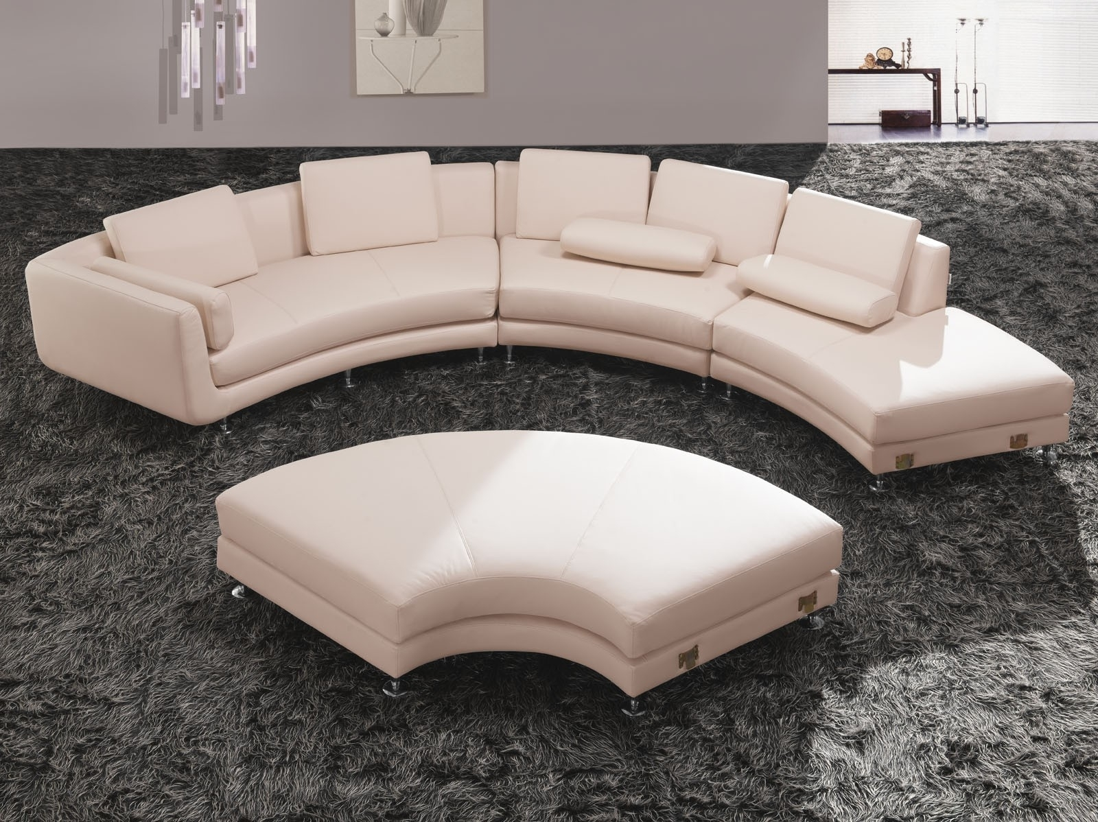 Sofa : Glamorous Round Sectional Sofa Bed Curved Leather Tufted intended for Circular Sectional Sofas (Image 9 of 10)