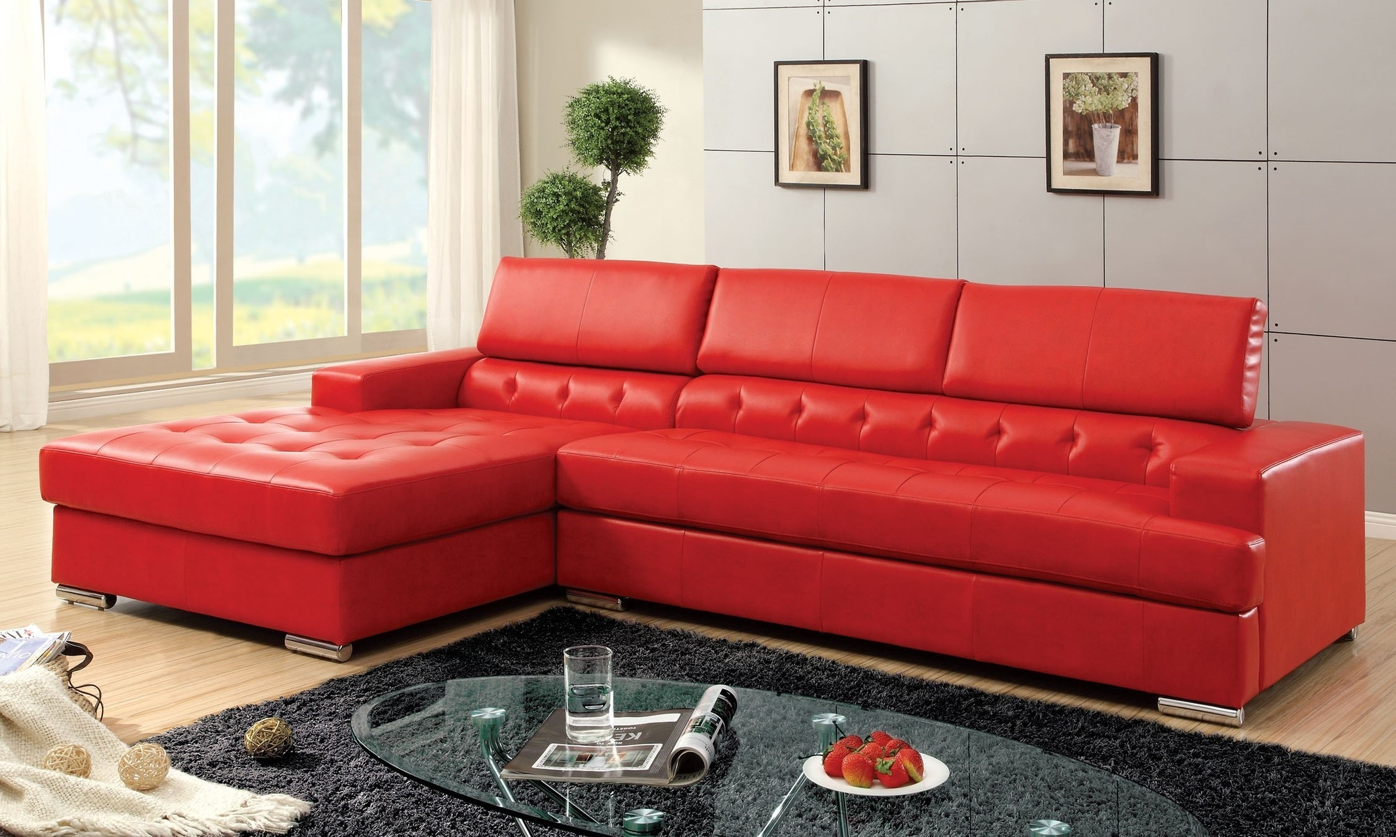 Sofa : Large Leather Sectional With Chaise L Couch With Chaise in Red Leather Sectional Sofas With Recliners (Image 14 of 15)