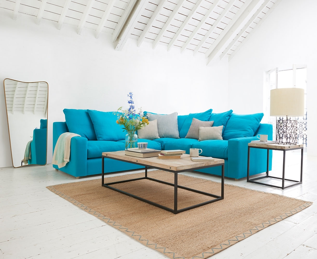 Sofas Made In Blighty | Cloud Corner | Loaf in Turquoise Sofas (Image 7 of 10)
