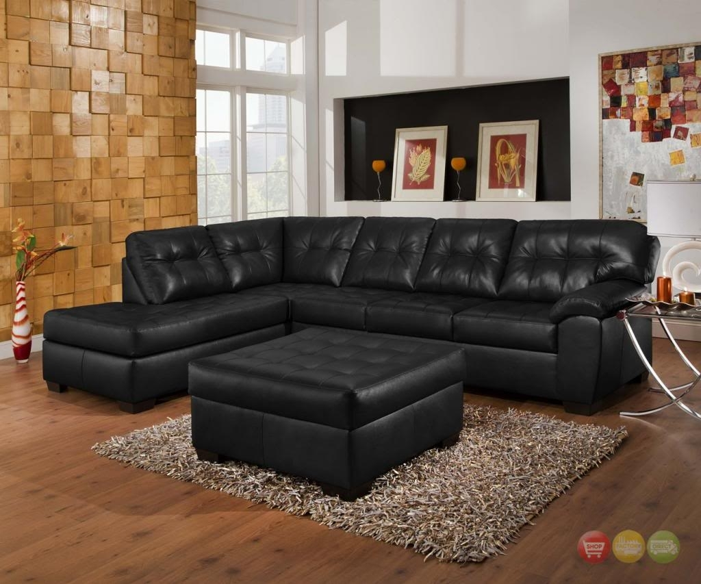 Soho Contemporary Black Bonded Leather Sectional Sofa & Ottoman Throughout Leather Sectional Sofas With Ottoman (View 7 of 15)