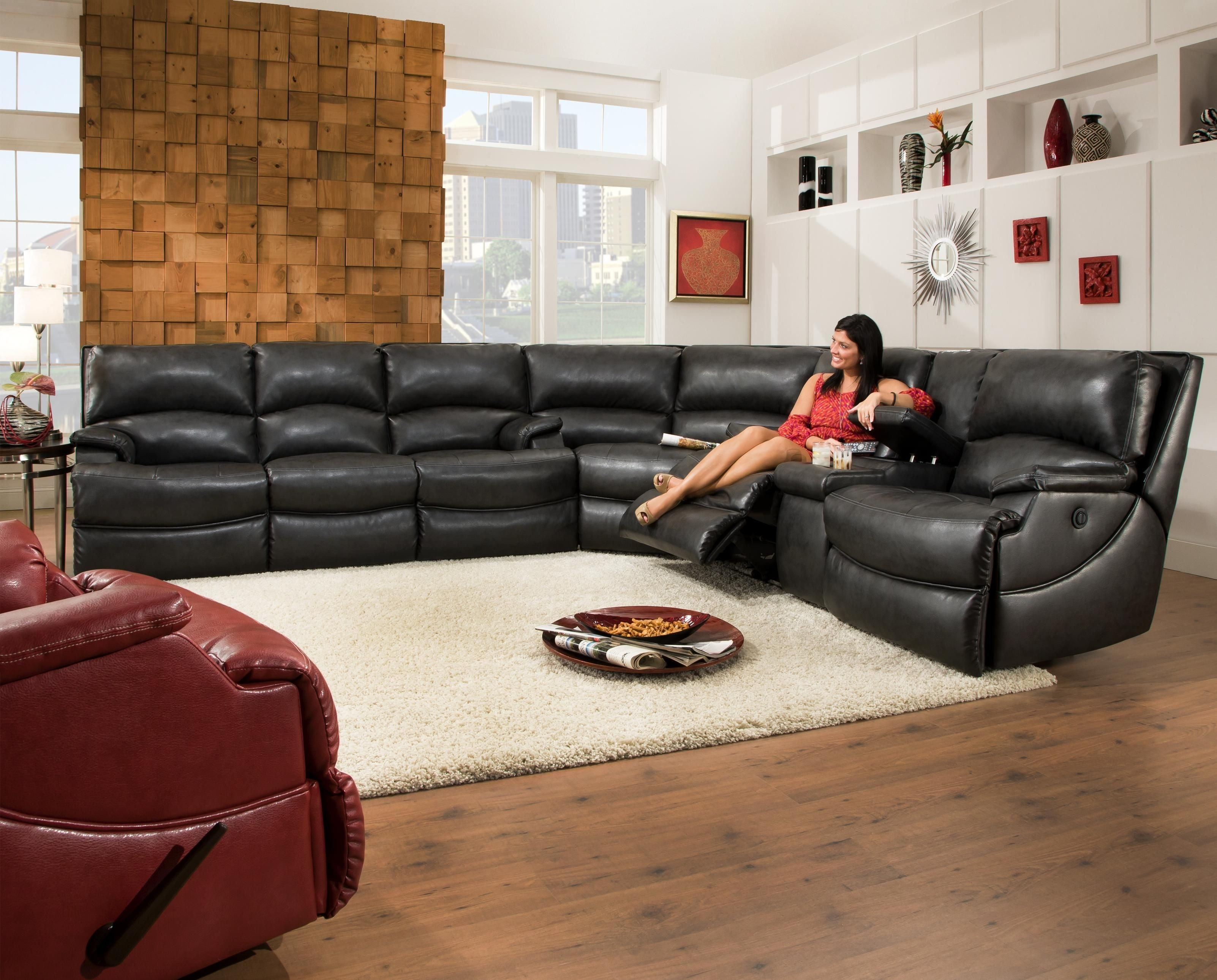Southern Motion Shazam Six Seat Reclining Sectional Sofa With Cup within Sectional Sofas With Consoles (Image 9 of 10)