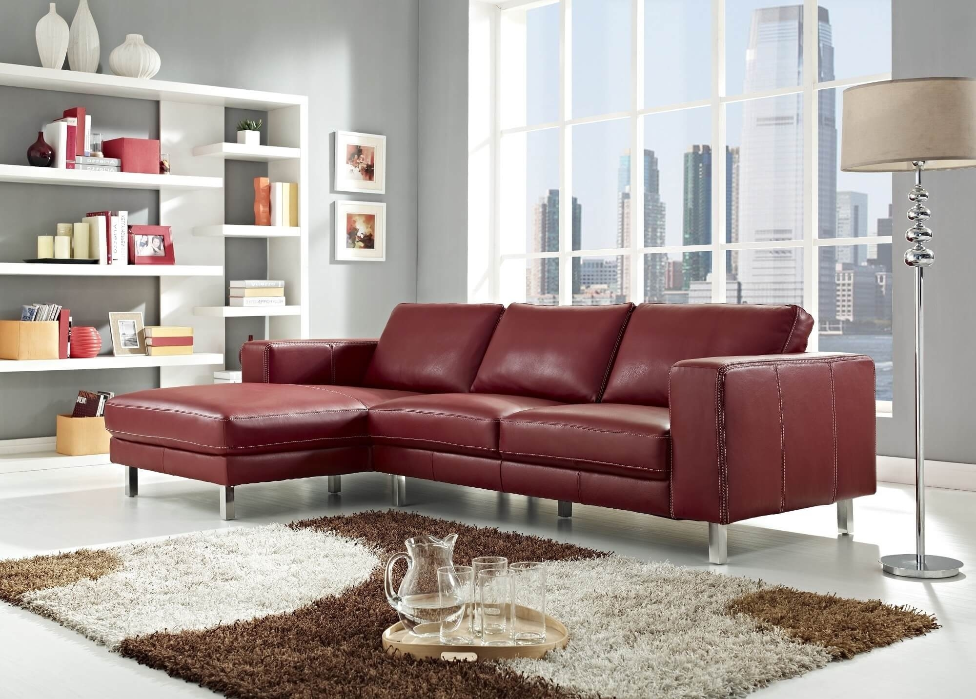 Stylish Modern Red Sectional Sofas inside Small Red Leather Sectional Sofas (Image 13 of 15)