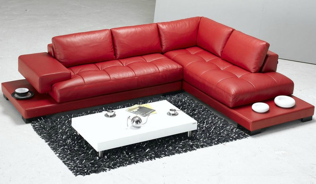 Stylish Modern Red Sectional Sofas pertaining to Small Red Leather Sectional Sofas (Image 14 of 15)