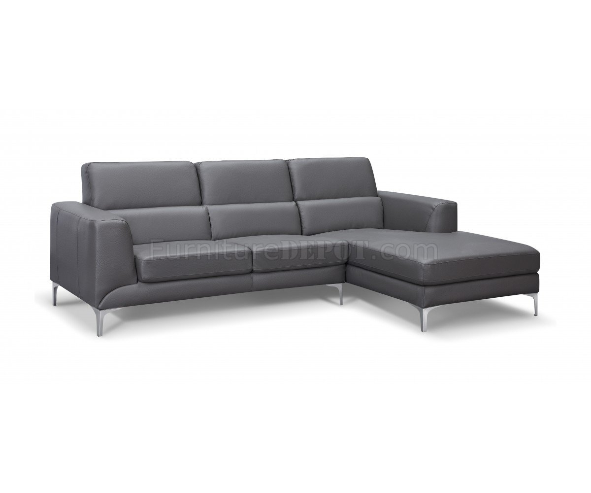 Sydney Sectional Sofa In Gray Faux Leatherwhiteline within Sydney Sectional Sofas (Image 8 of 10)