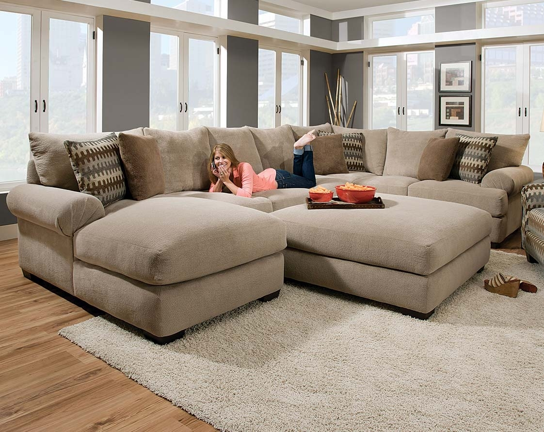 Tan Couch Set With Ottoman | Bacarat Taupe 3-Piece Sectional Sofa intended for Sectional Sofas With Oversized Ottoman (Image 14 of 15)