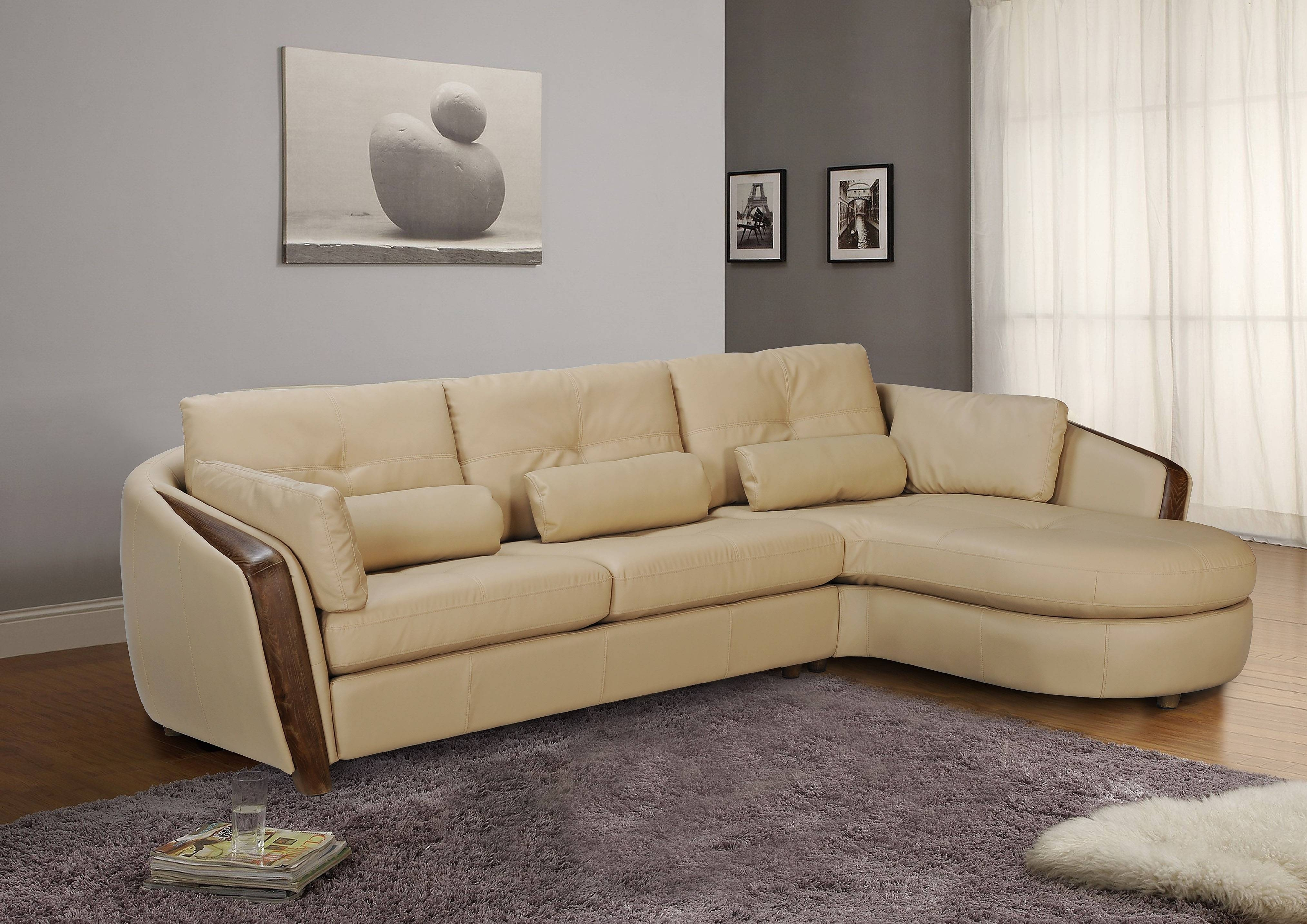 Taupe Bonded Leather Sectional Sofa With Ash Wood Accent Baltimore with regard to Ontario Sectional Sofas (Image 10 of 10)