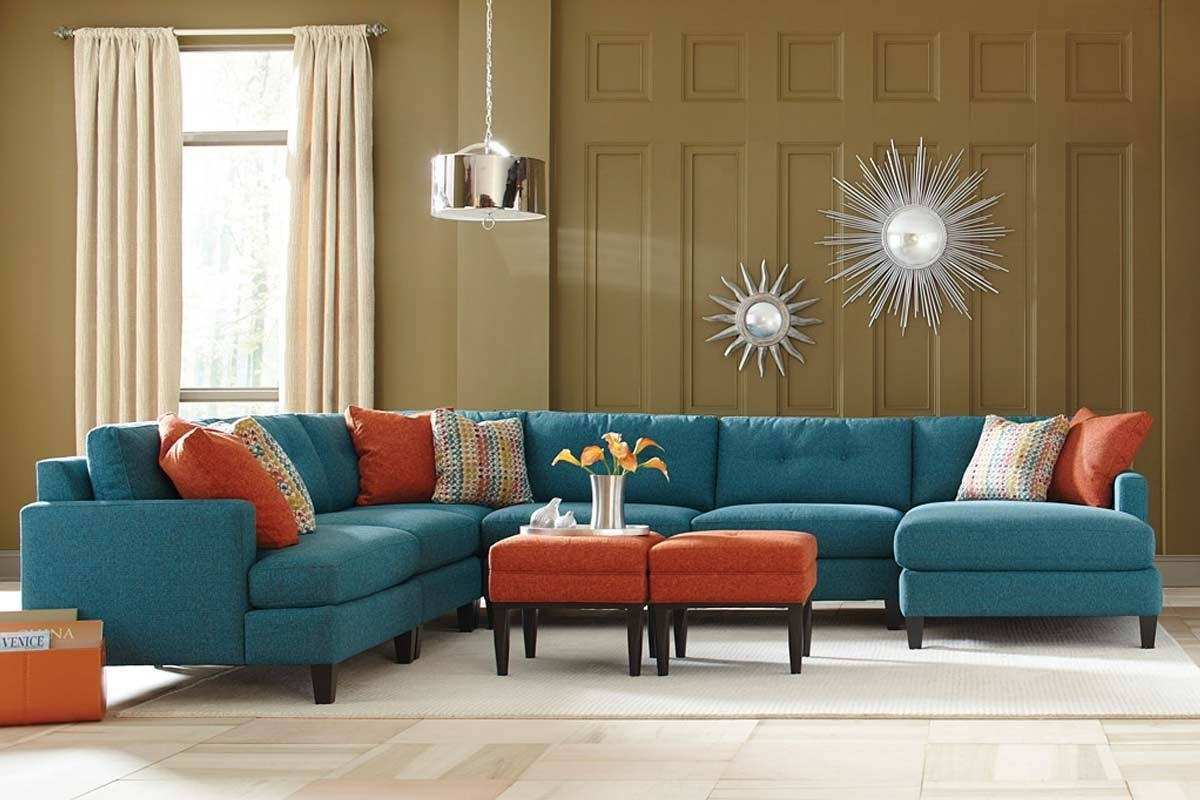 Teal Color Custom Sectional Sofa, Made In The Usa Los Angeles pertaining to Customizable Sectional Sofas (Image 14 of 15)
