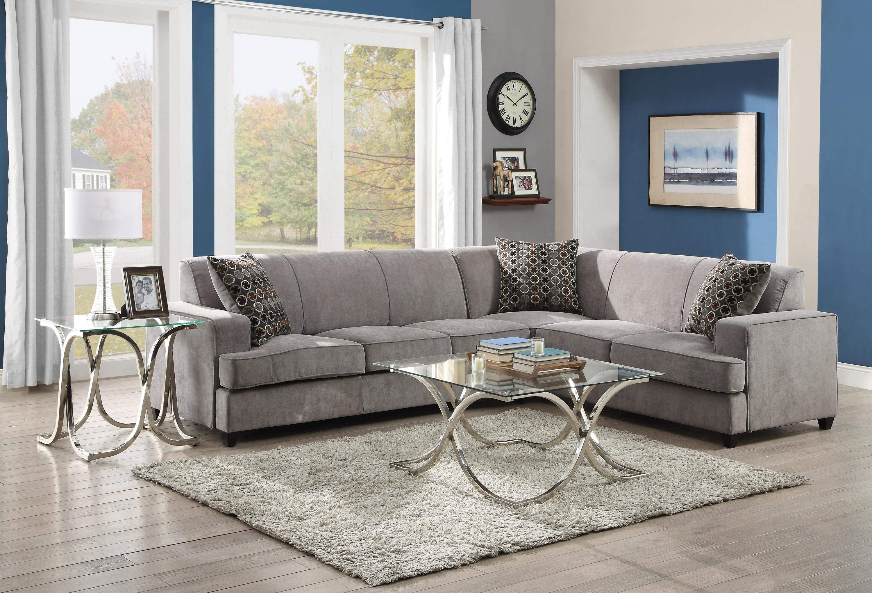Tess Casual Grey Fabric Sectional Sofa For Corners With Queen Size regarding Philadelphia Sectional Sofas (Image 10 of 10)