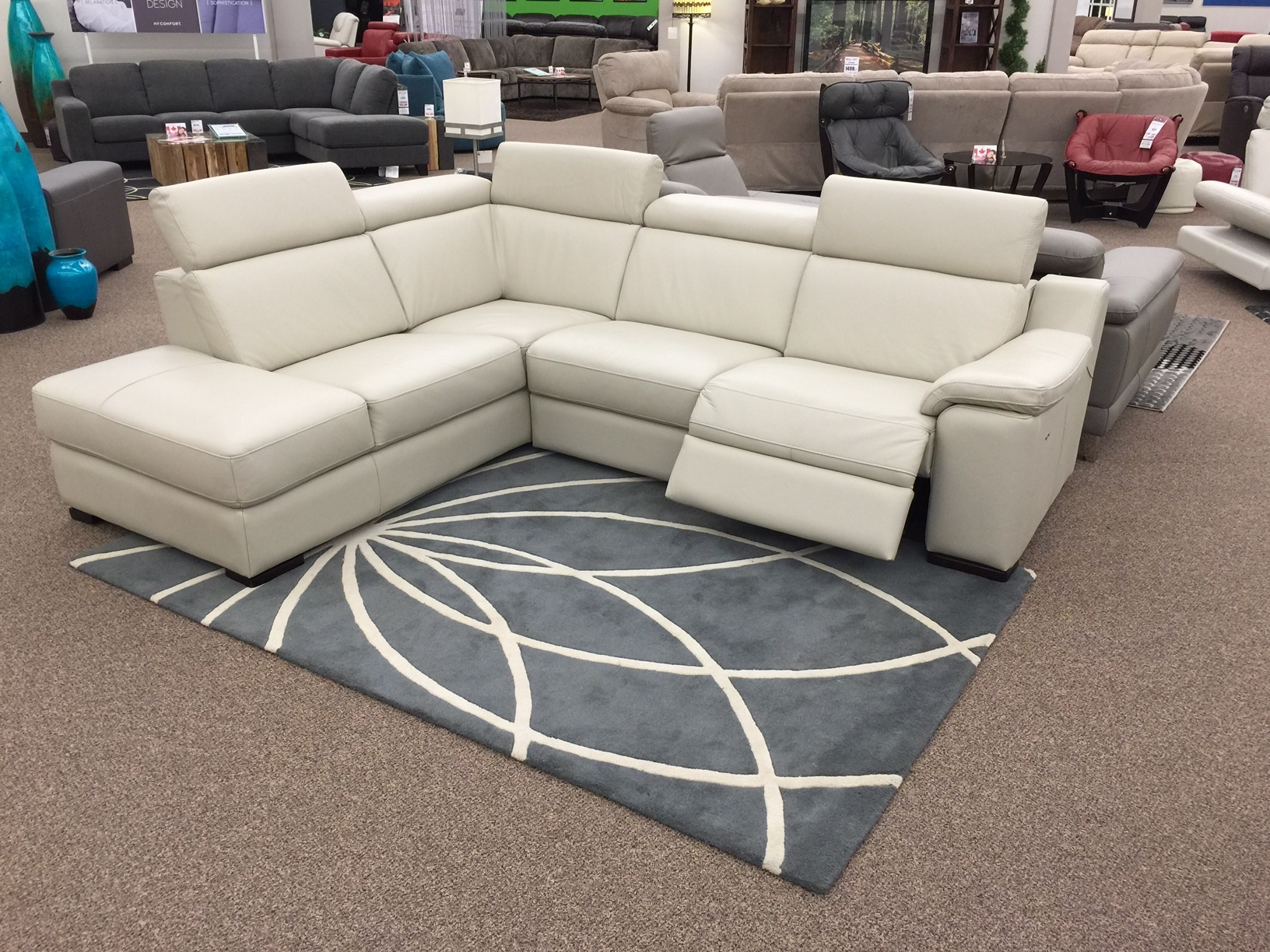 The Ashlynn Sectional Just Arrived At Sofa Land! This 100% Leather regarding Sectional Sofas in Stock (Image 9 of 10)