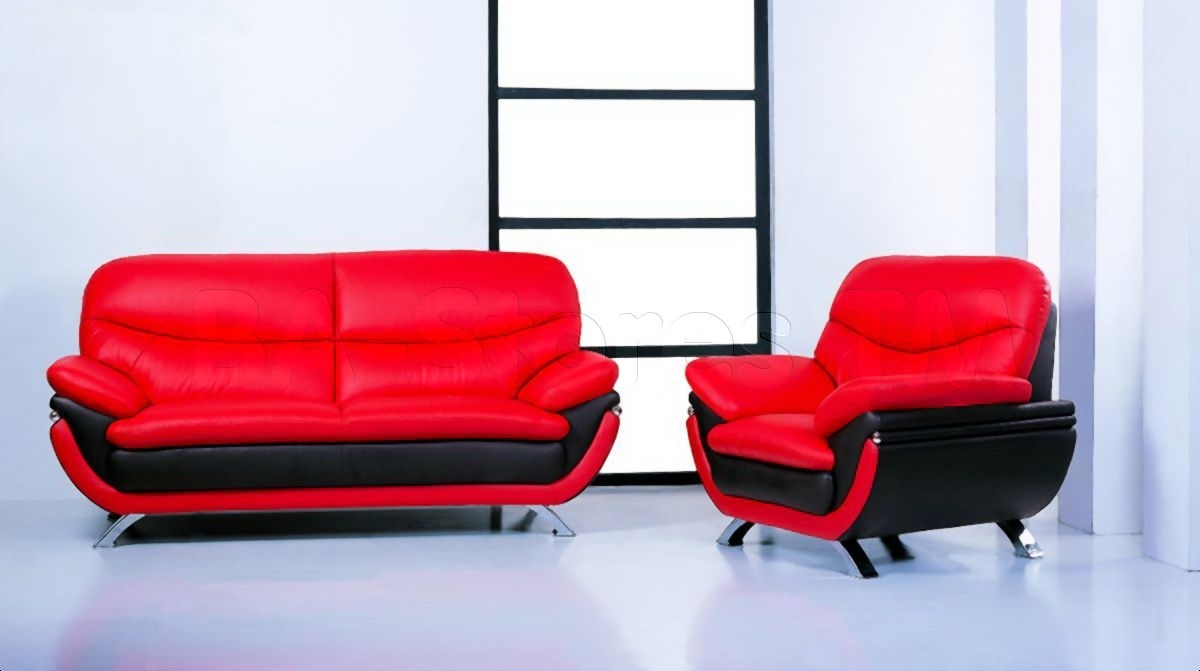 The Best Jonus Sofa And Loveseat Set Black Red Leather Picture For pertaining to Red Leather Couches and Loveseats (Image 12 of 15)