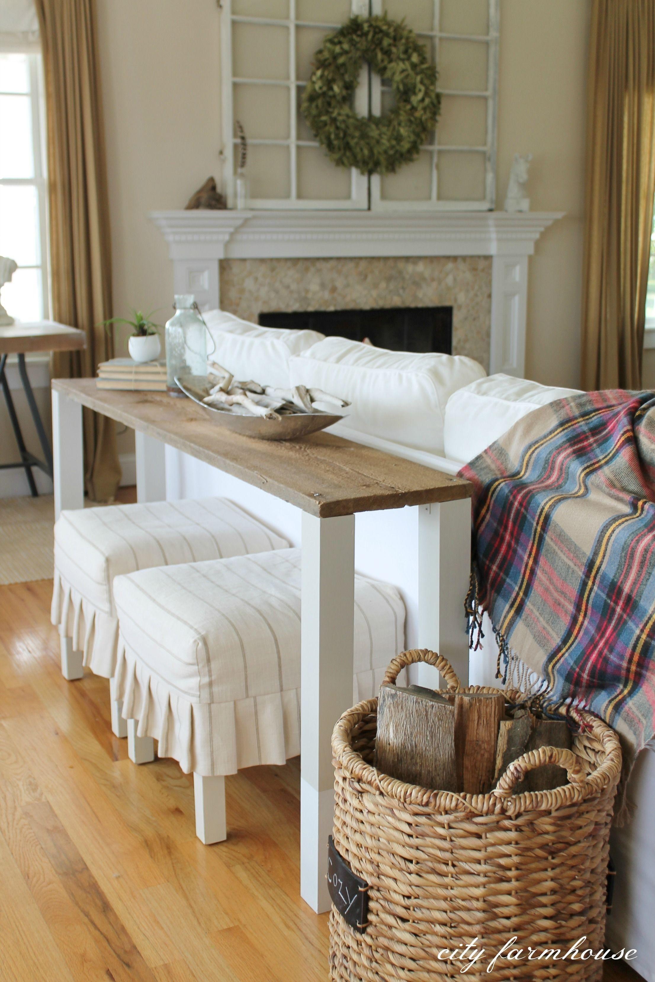 The Easiest Diy Reclaimed Wood Sofa Table | Diy Sofa Table, Diy Sofa For Sofas With Back Consoles (View 10 of 10)