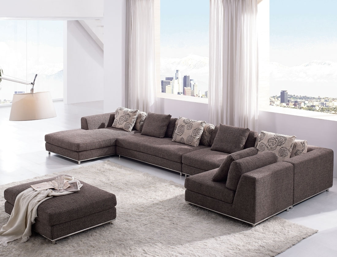 Tosh Furniture Contemporary Modern Brown Fabric Sectional Sofa inside Contemporary Sectional Sofas (Image 15 of 15)