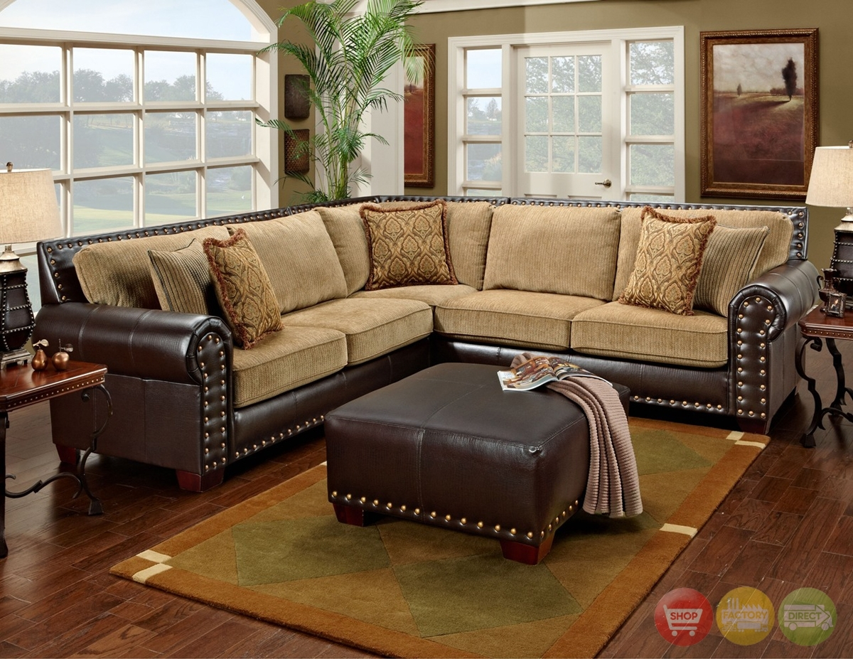 Traditional Brown & Tan Sectional Sofa W/ Nailhead Accents 650 17 for Joplin Mo Sectional Sofas (Image 9 of 10)