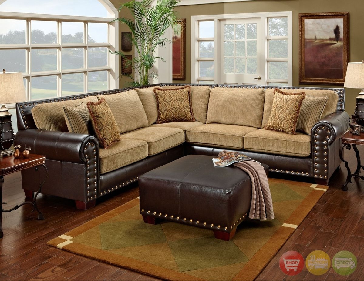 Traditional Brown & Tan Sectional Sofa W/ Nailhead Accents 650 17 Inside Sectional Sofas With Nailheads (View 6 of 10)
