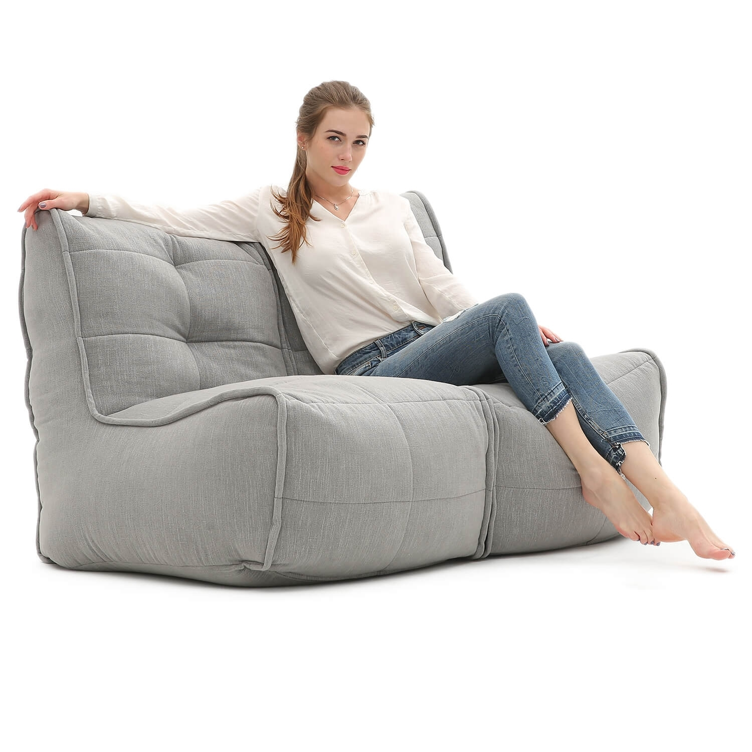 Twin Couch Sofa – Keystone Grey – Bean Bags Australia Within Bean Bag Sofas (View 4 of 10)