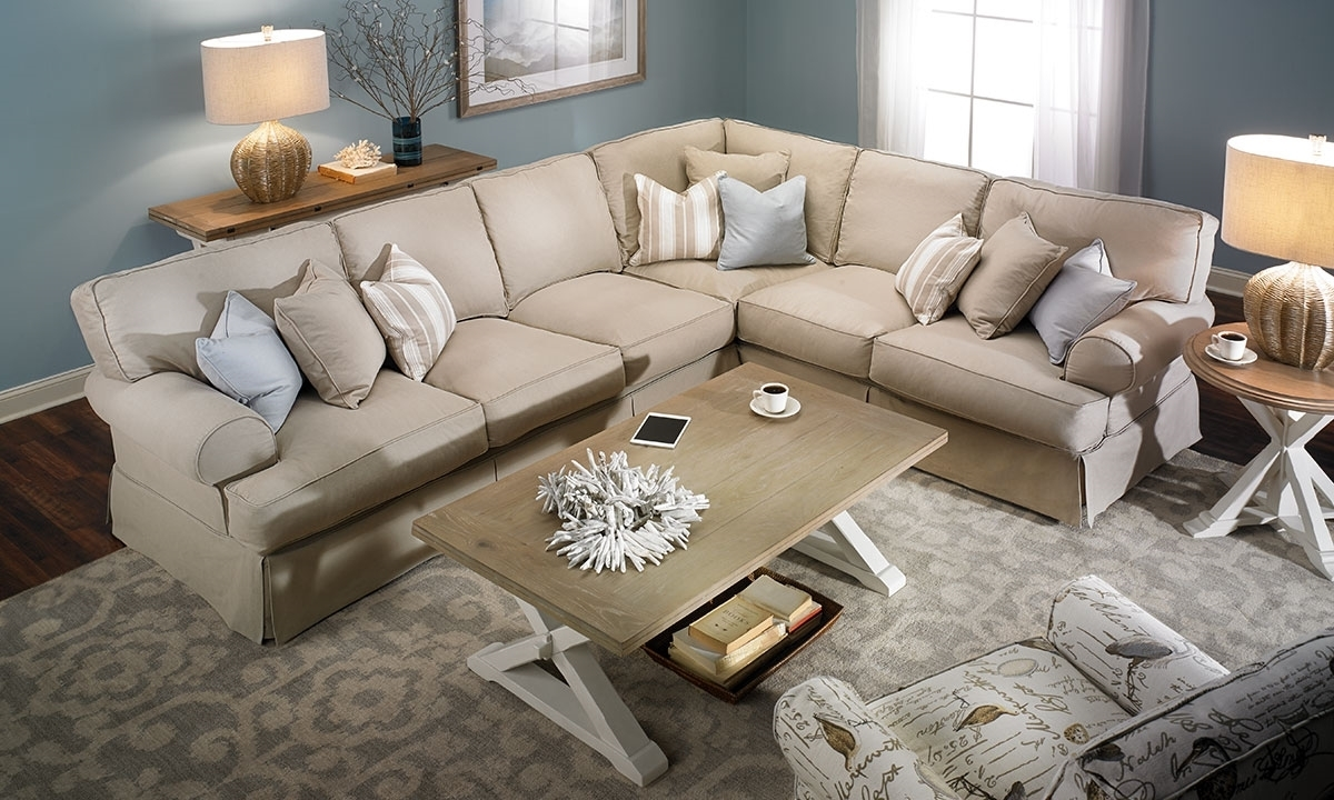 Two Lanes Classic Roll Arm Slipcovered Sectional | Haynes Furniture In Sectional Sofas (View 10 of 10)