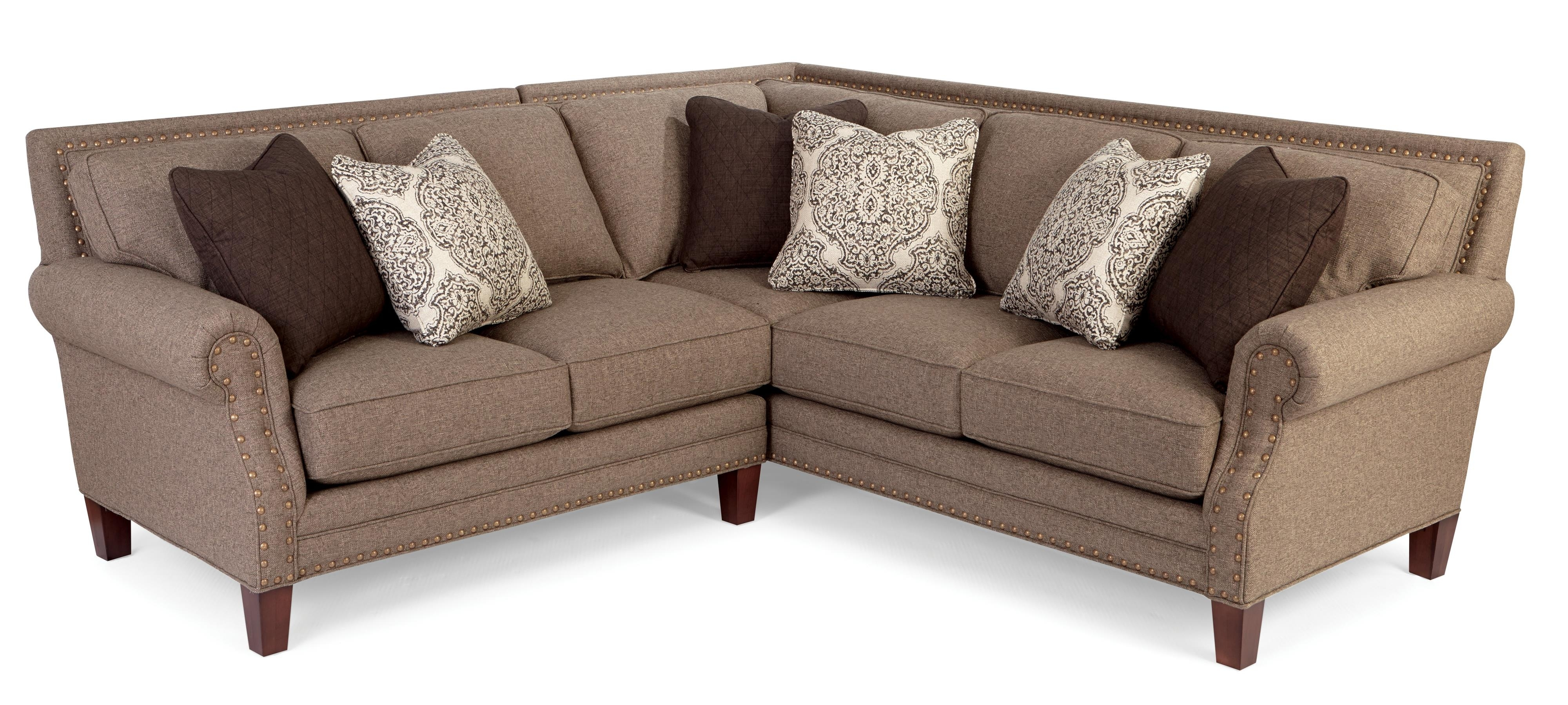 Two Piece Sectional Sofa With Rolled Arms And Light Brass Nailheads Within Sectional Sofas With Nailheads (View 10 of 10)