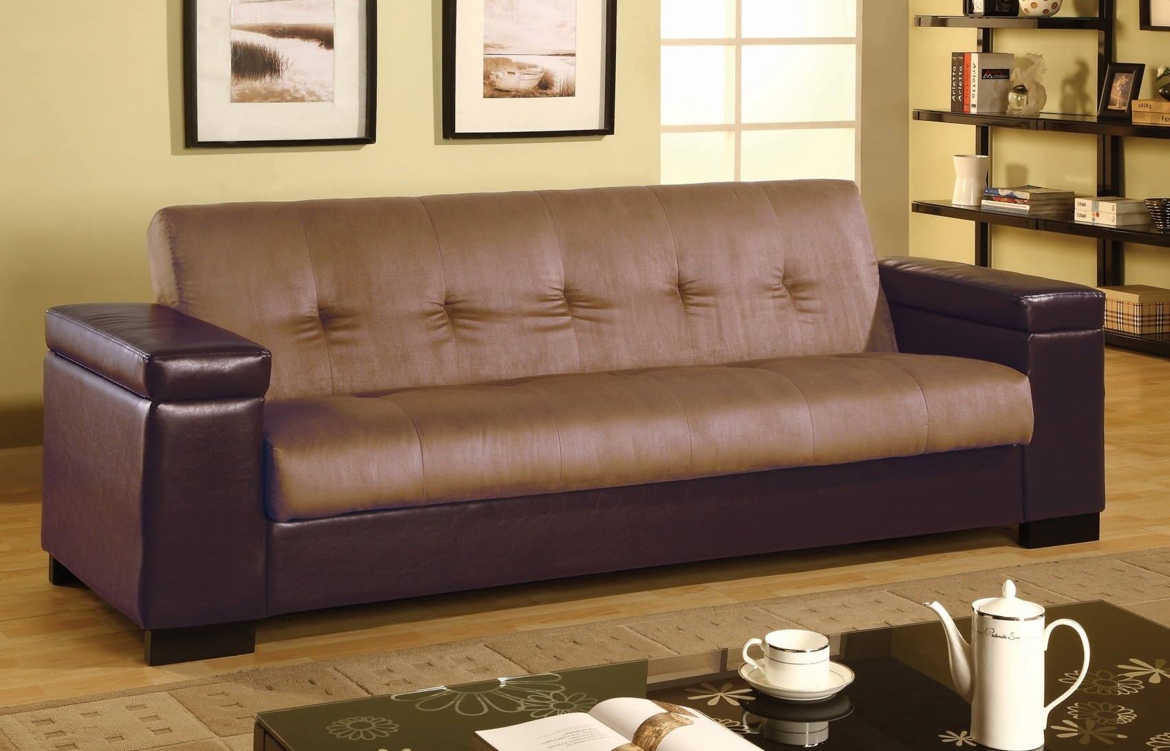 Two Tone Leather Sofa With Storage Under Armrest And Tufted Backrest intended for Leather Sofas With Storage (Image 10 of 10)