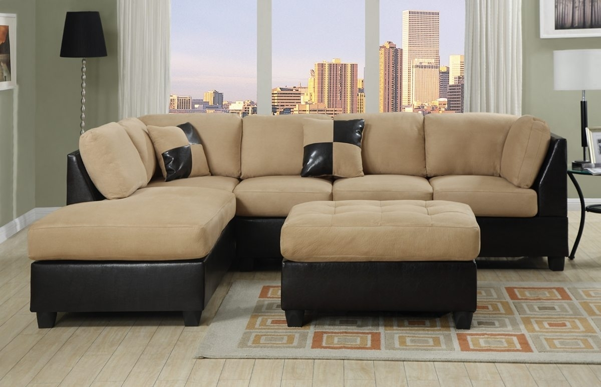 Two Tone Sectional Sofa With Square Ottoman Coffee Table And Cream within Leather and Suede Sectional Sofas (Image 10 of 10)