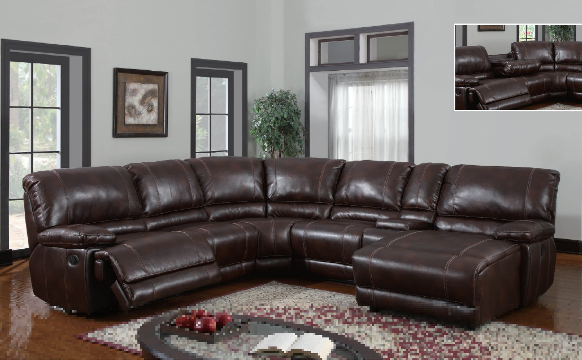 U1953 Global Furniture Usa Sectional With Power Recliner And Chaise with Sectional Sofas With Power Recliners (Image 10 of 10)