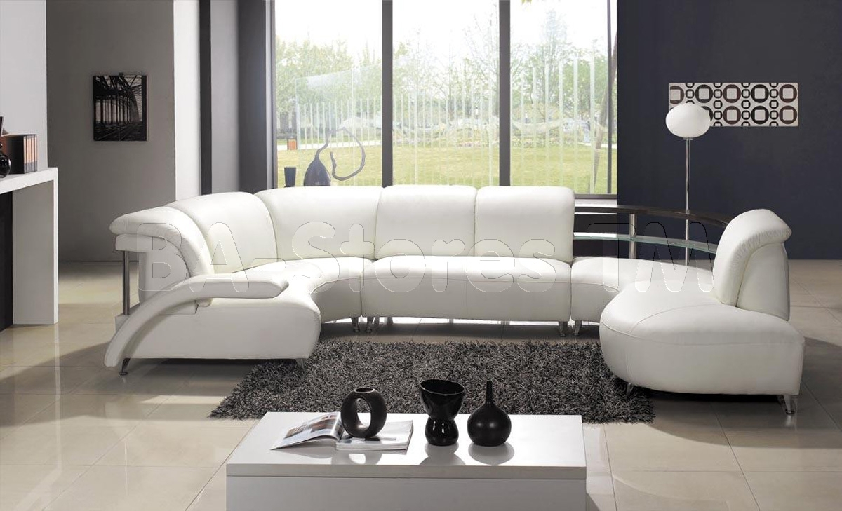 Ultra Modern U Shaped White Leather Sectional | For The Home with Modern U Shaped Sectionals (Image 15 of 15)