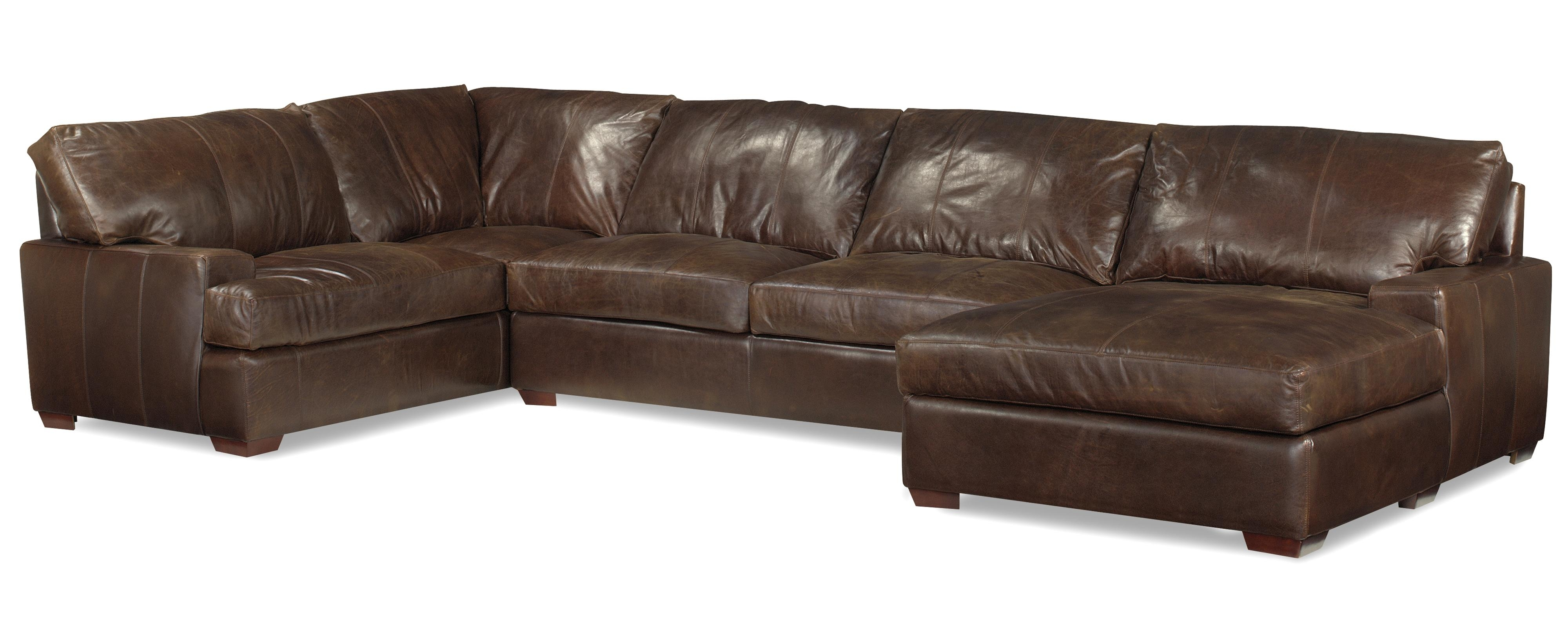 Usa Premium Leather 3635 Track Arm Sofa Chaise Sectional W/ Block With Sectional Sofas With Chaise (View 15 of 15)