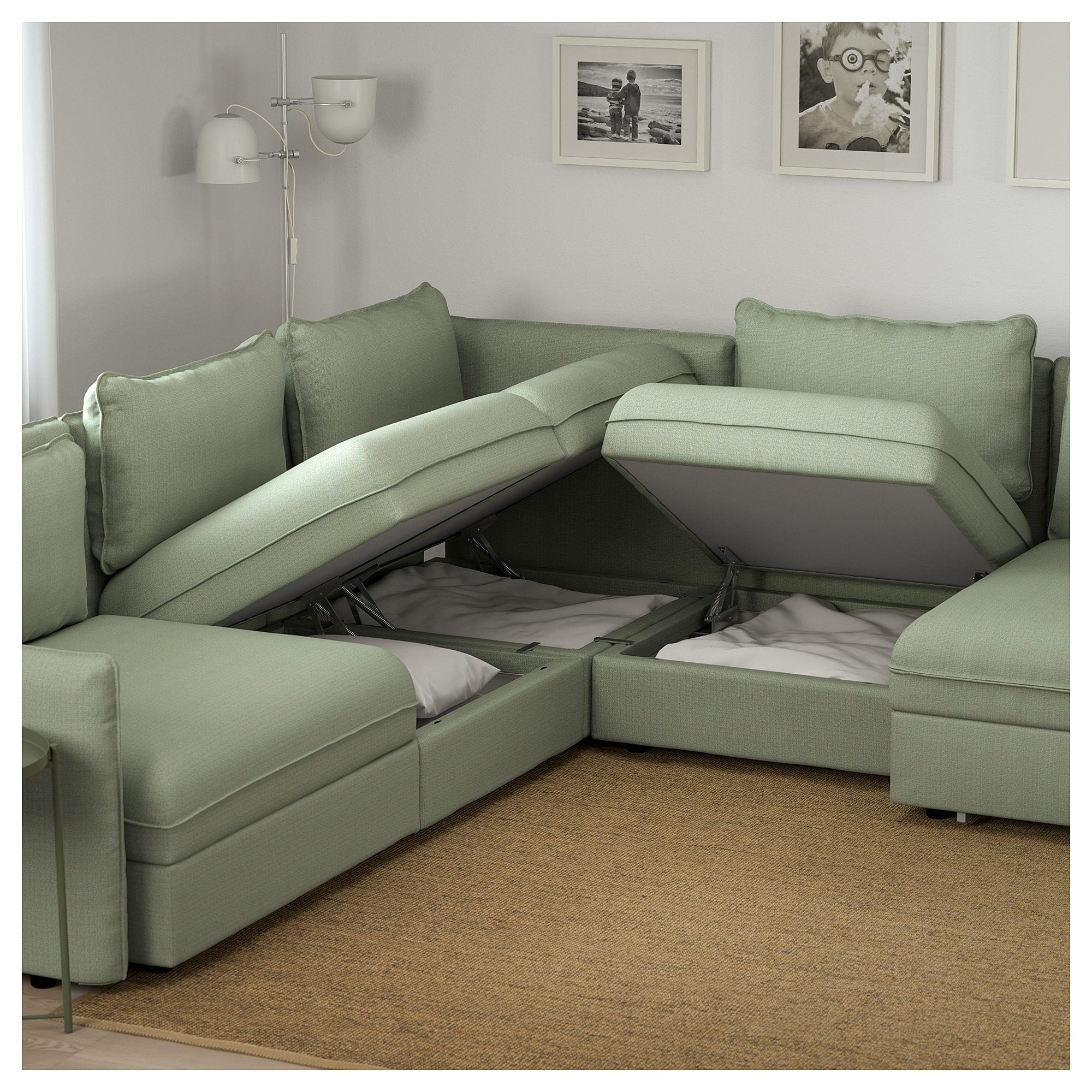 Vallentuna 6 Seat Corner Sofa With Bed Hillared Green – Ikea Within Ikea Corner Sofas With Storage (View 10 of 10)