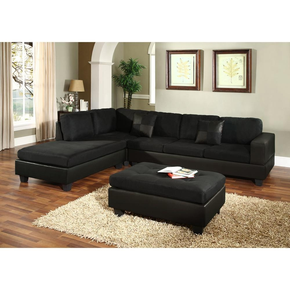 Venetian Worldwide Dallin Black Microfiber Sectional-Mfs0005-L - The regarding Black Leather Sectionals With Ottoman (Image 15 of 15)