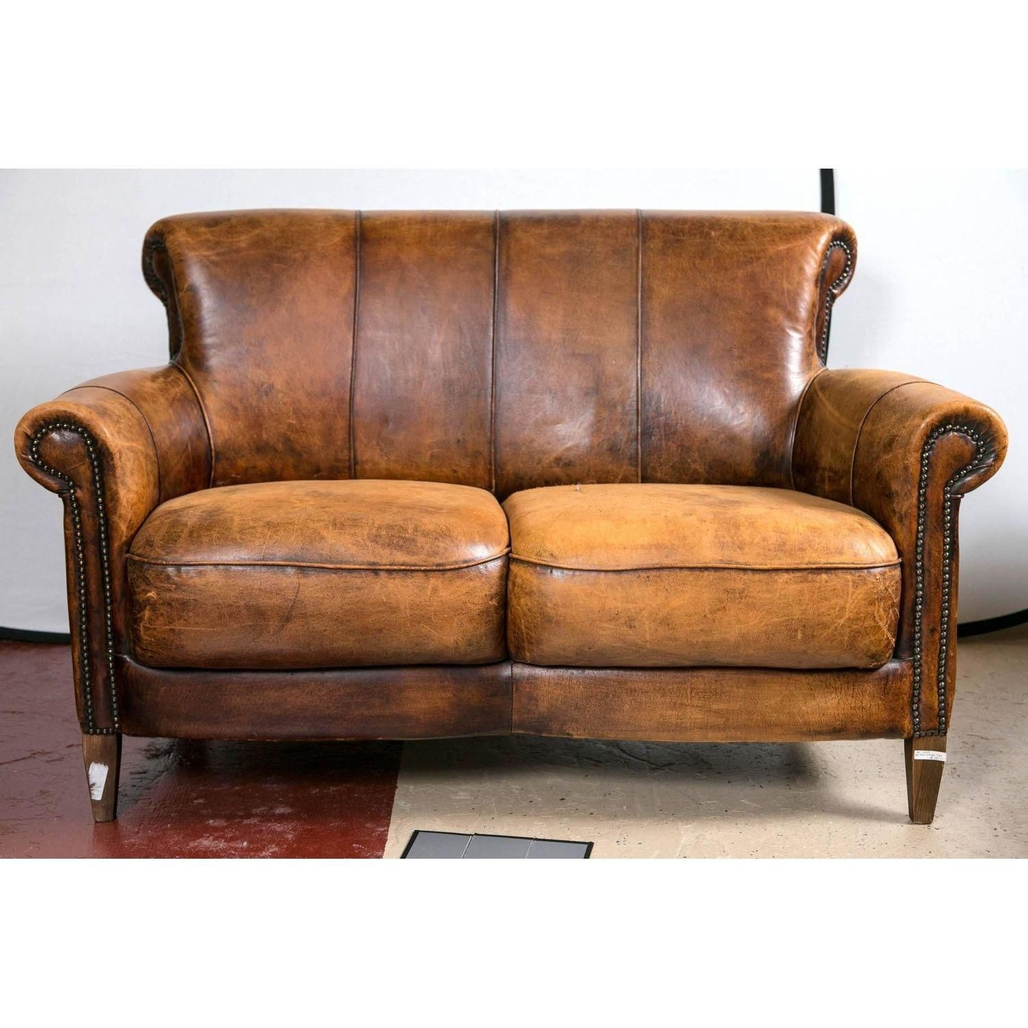 Vintage French Distressed Art Deco Leather Sofa | Leather Sofas, Art inside Art Deco Sofas (Image 10 of 10)