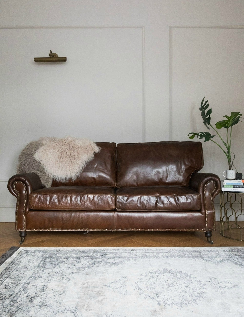 Vintage Leather Sofa - 3 Seater | Rose & Grey pertaining to Vintage Sofas (Image 5 of 10)