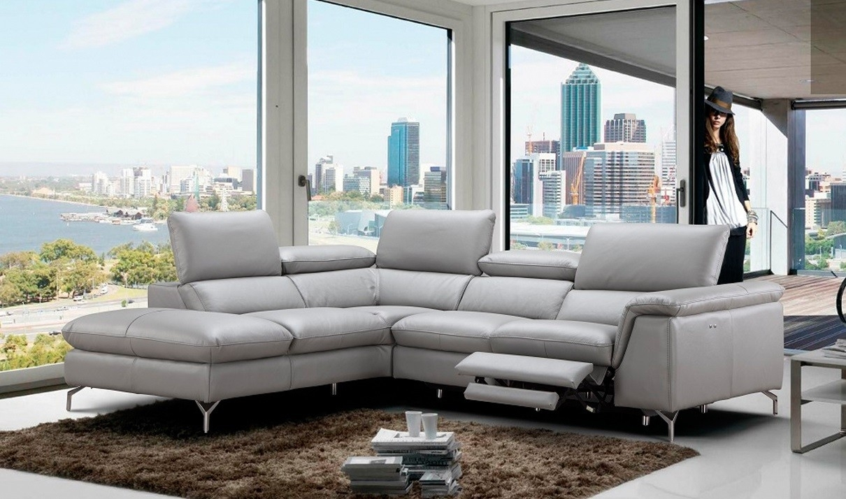 Viola Premium Leather Sectional Sofa In Light Grey | Free Shipping throughout Light Grey Sectional Sofas (Image 10 of 10)