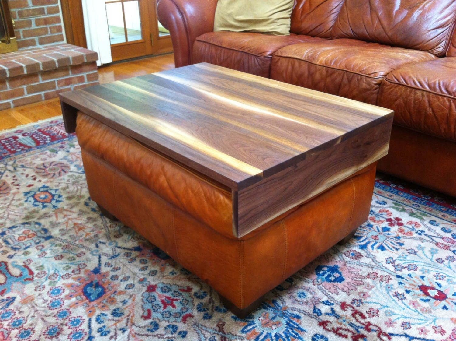 Walnut Ottoman Tray – Wood Ottoman Wrap Tray – Tv Tray Table Inside Ottomans With Tray (View 15 of 15)