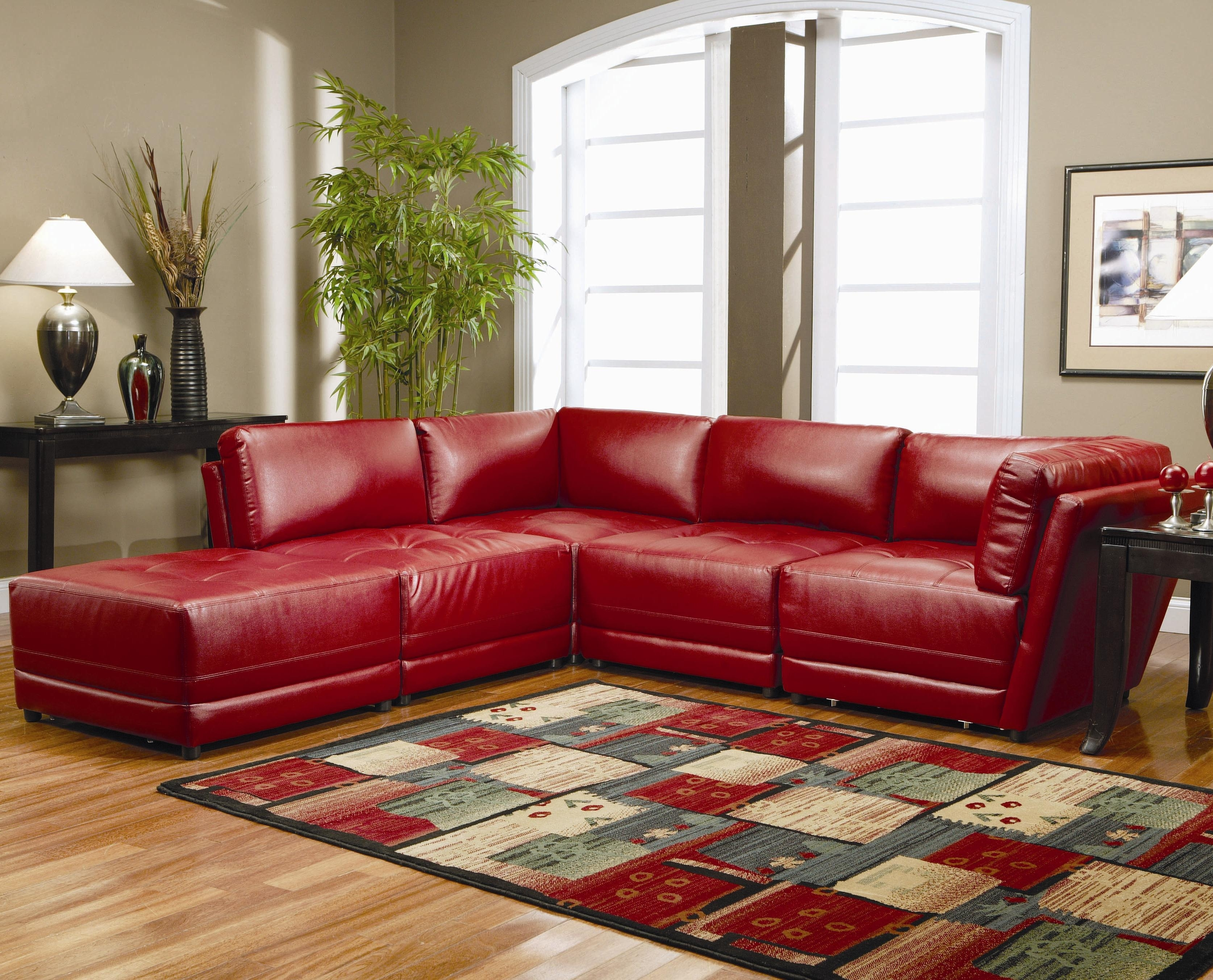 Warm Red Leather Sectional L Shaped Sofa Design Ideas For Living inside Red Faux Leather Sectionals (Image 15 of 15)