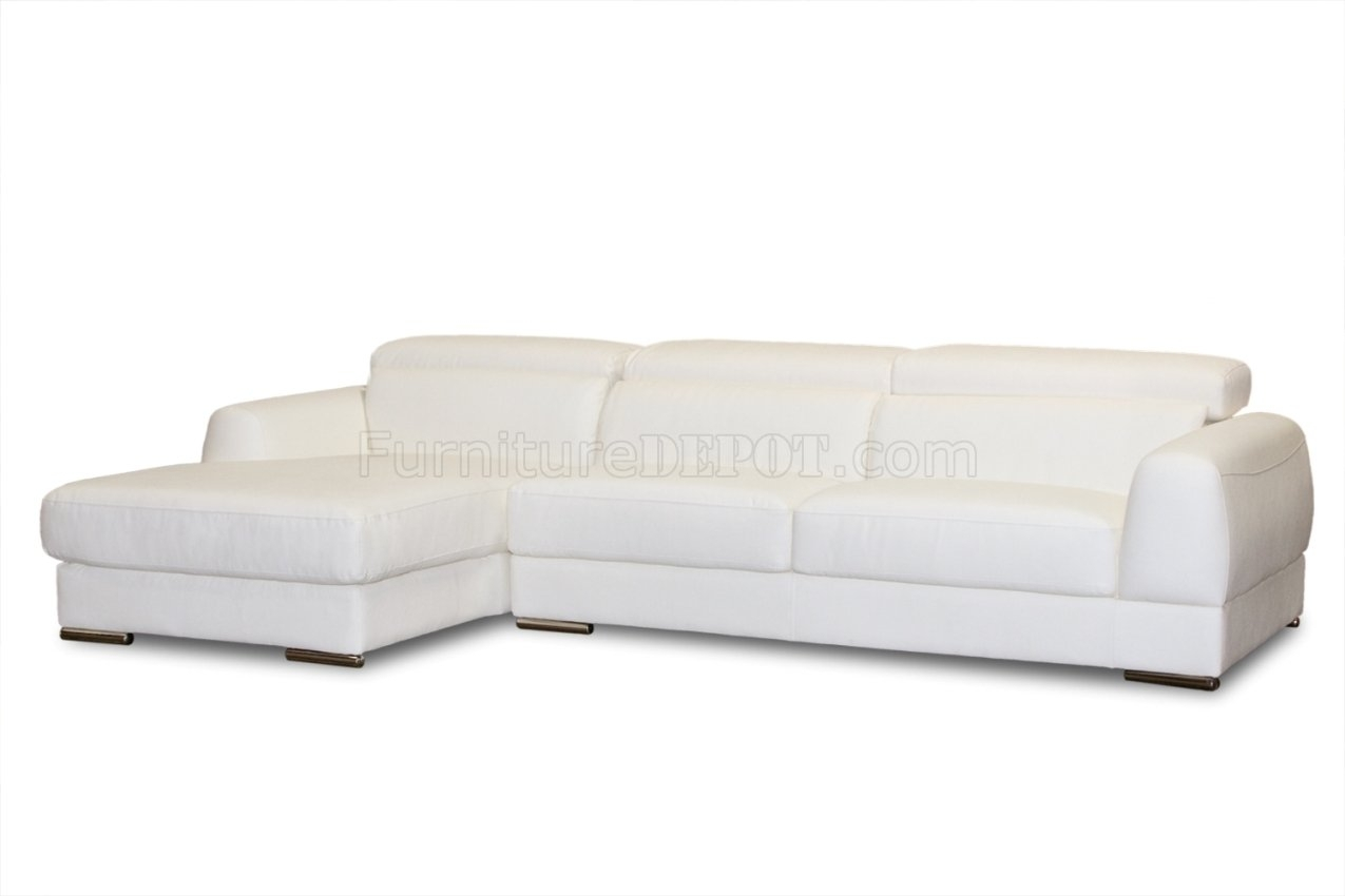White Bonded Leather Modern Chicago Sectional Sofa intended for Sectional Sofas at Chicago (Image 15 of 15)