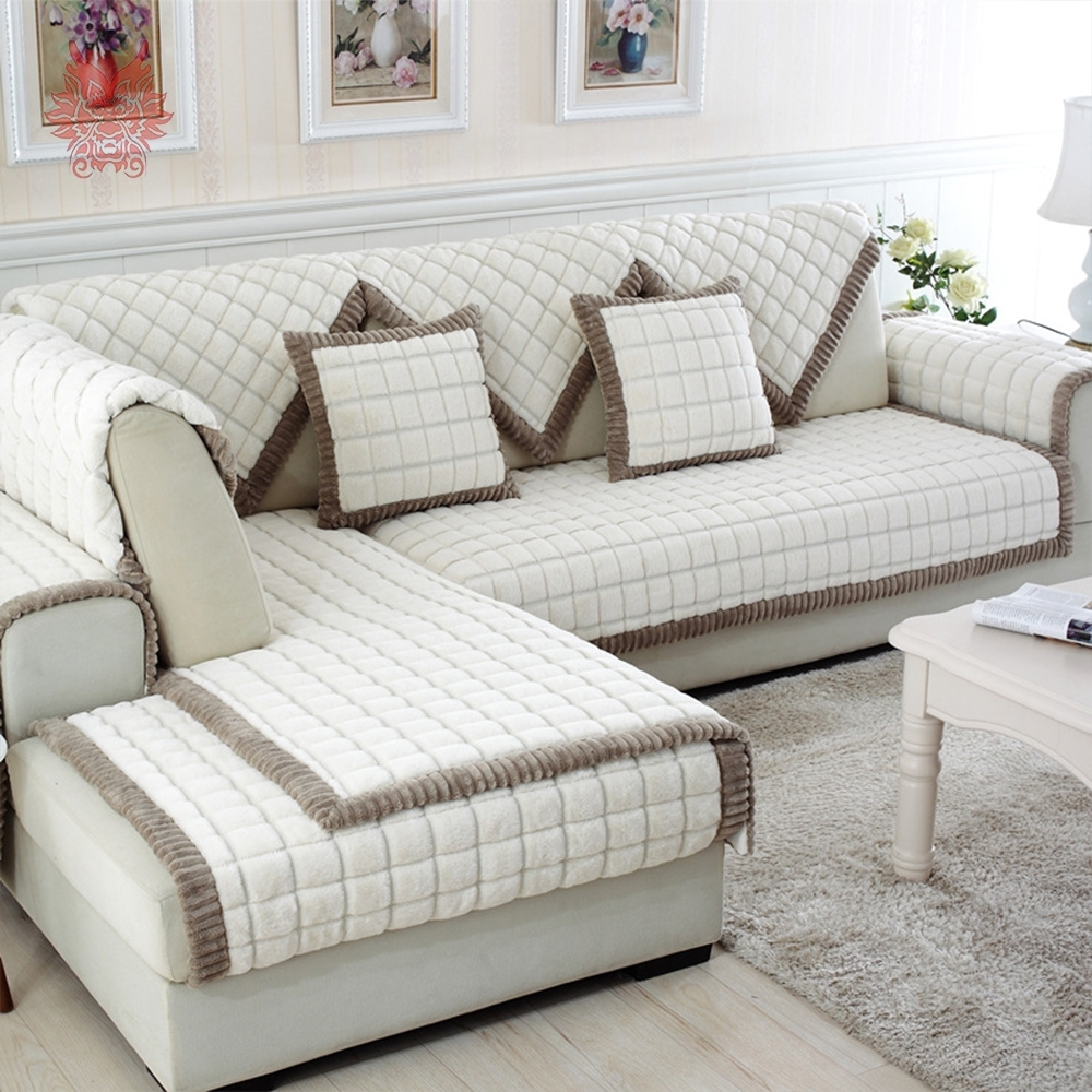 White Grey Plaid Plush Long Fur Sofa Cover Slipcovers Fundas De Sofa Pertaining To Sectional Sofas With Covers (View 15 of 15)