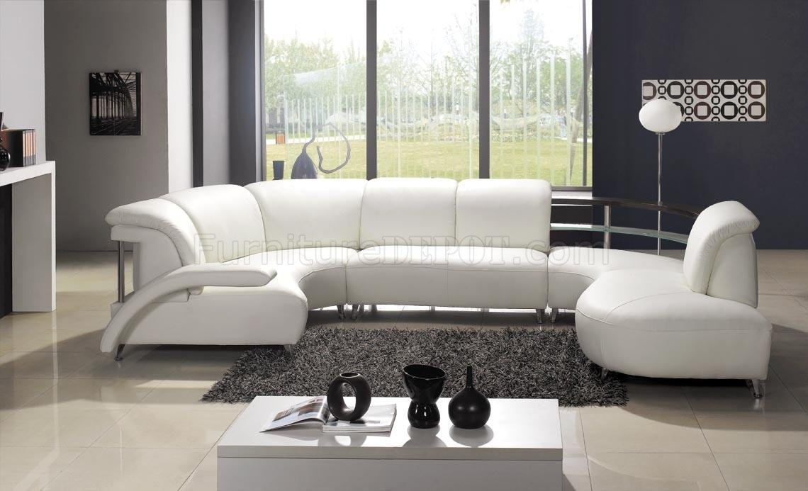 White Leather Modern U Shaped Sectional Sofa W/shelves Pertaining To Modern U Shaped Sectional Sofas (View 10 of 15)
