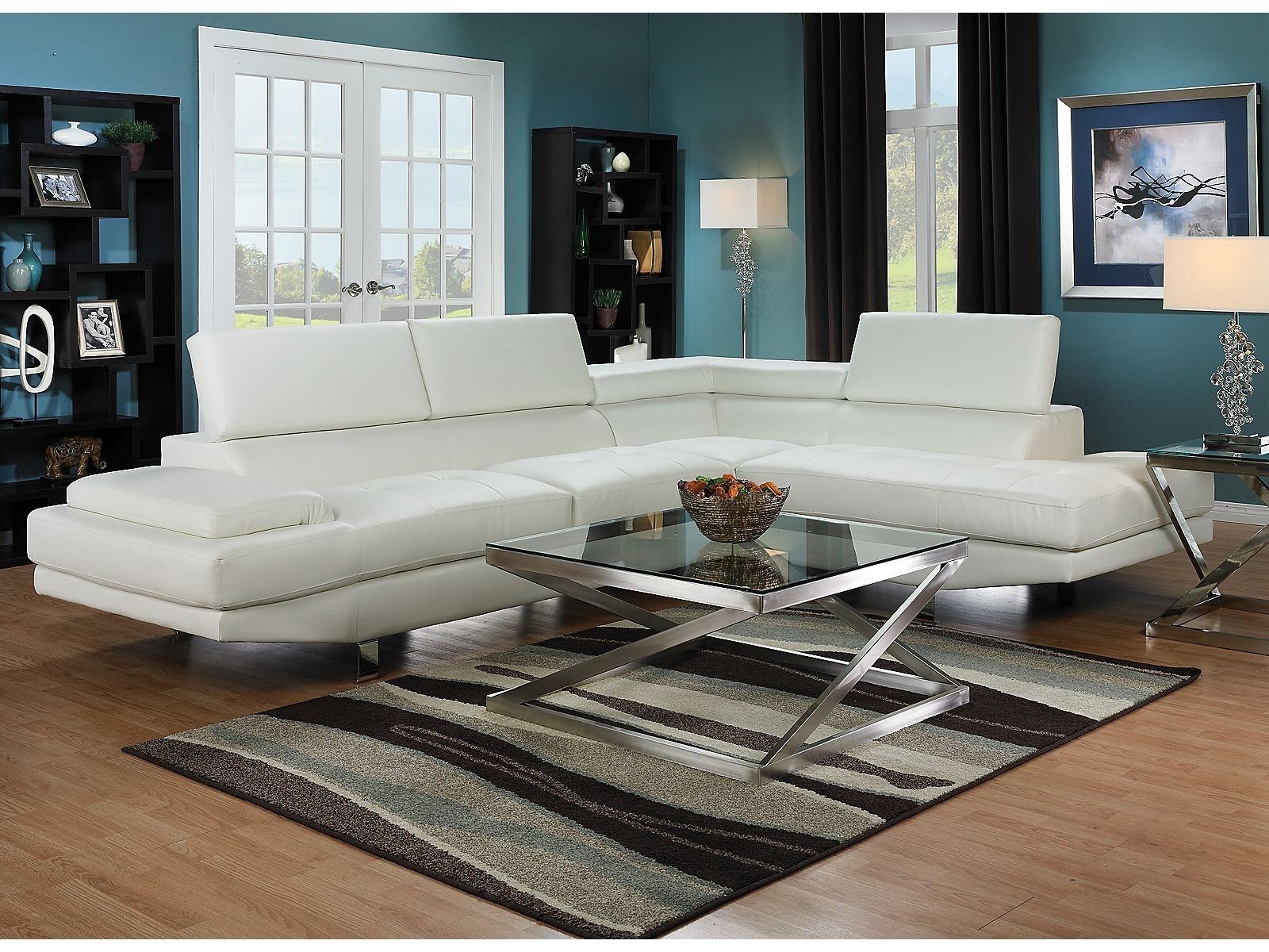 Zane 2-Piece Sectional With Right-Facing Chaise - White | Things pertaining to Sectional Sofas At Brick (Image 15 of 15)