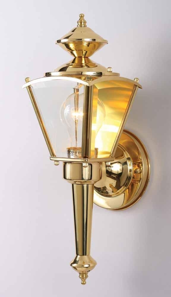 1 Light Polished Brass Outdoor Wall Sconce : V9510 2 | Lighting Depot In Brass Outdoor Wall Lighting (Gallery 6 of 10)