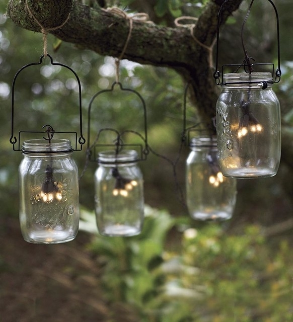 10 Ideas For Outdoor Mason Jar Lights To Add A Romantic Glow To Your for Outdoor Hanging Mason Jar Lights (Image 1 of 10)