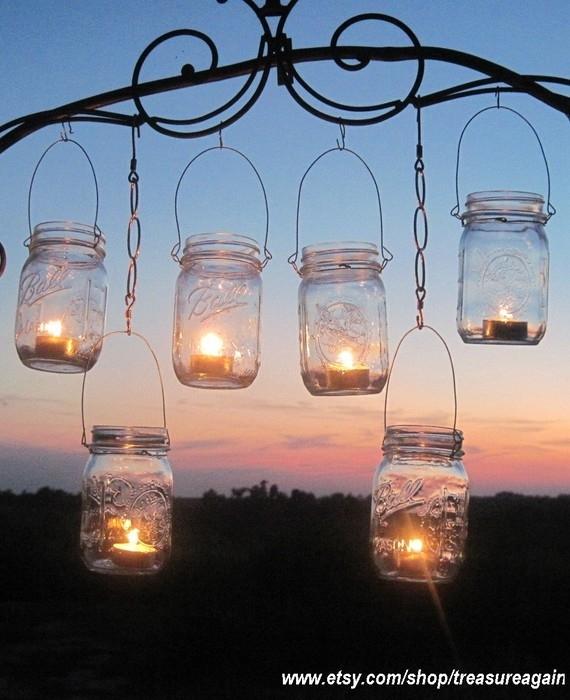 12 Hanging Garden Light Diy Mason Jar Lantern Hangers, Weddings, Diy Inside Hanging Outdoor Tea Light Lanterns (Photo 3 of 10)