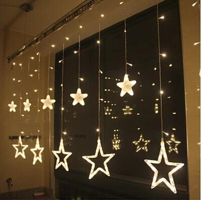 2018 128 Led Star Outdoor Wall Light Curtain Love Flash Butterfly With Regard To Outdoor Wall Xmas Lights (Photo 1 of 10)