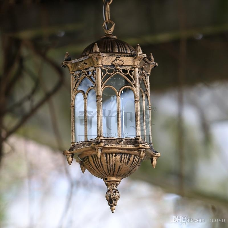 2018 European Vintage Outdoor Porch Pendant Lights Courtyard Throughout Vintage Outdoor Hanging Lights (Gallery 2 of 10)