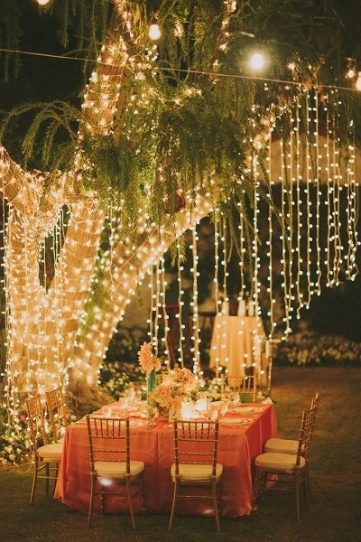 23 Ways To Transform Your Wedding From Bland To Mind-Blowing in Outdoor Hanging Fairy Lights (Image 1 of 10)