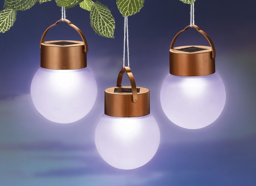 3 Pc Solar Led Outdoor Patio Hanging Lights Yard Garden Decorative throughout Led Outdoor Hanging Lights (Image 1 of 10)