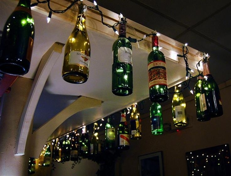 37 Best Wine Crafts (Bottles, Glasses & More!) Images On Pinterest throughout Outdoor Hanging Bottle Lights (Image 2 of 10)