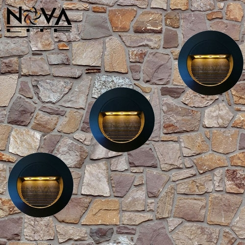 3W Outdoor Recessed Led Wall Lamp, Round Exterior Led Step Light with Outdoor Rock Wall Lighting (Image 2 of 10)