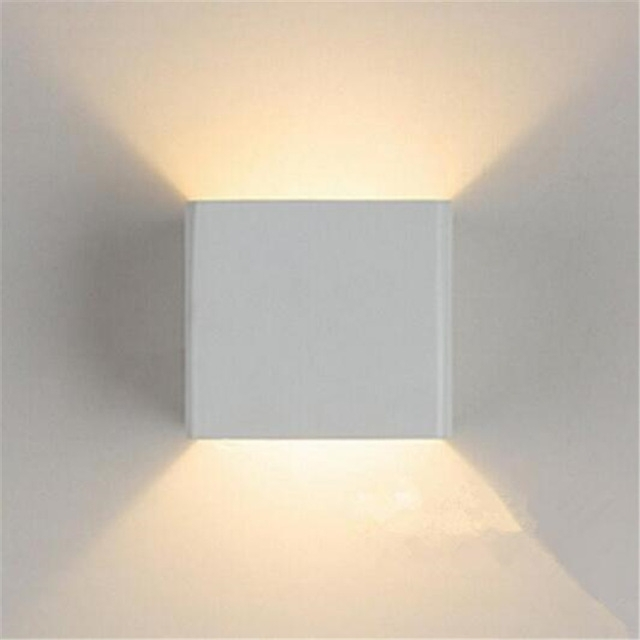 7W Led Outdoor Wall Lamp Ip65 Surface Mounted Outdoor Cube Led Wall Throughout Outdoor Wall Lights In White (Photo 10 of 10)