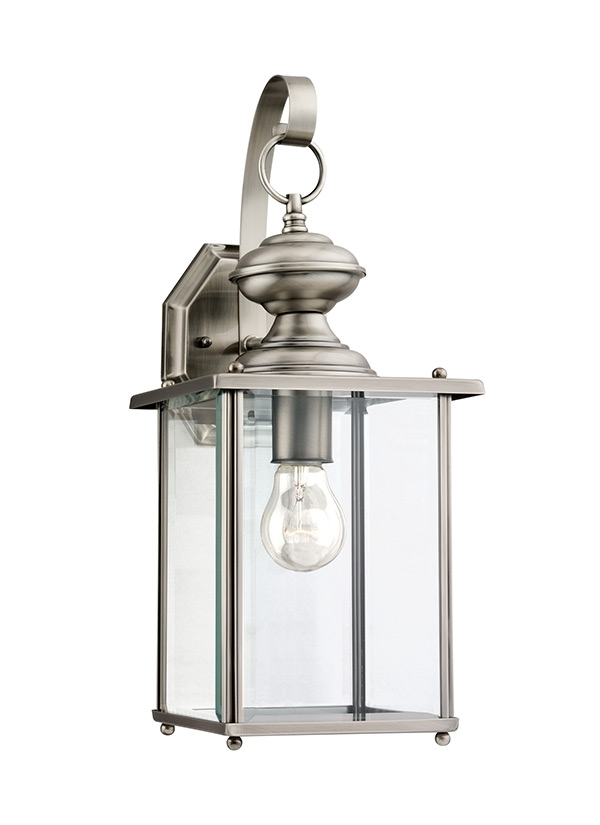 8458 965,one Light Outdoor Wall Lantern,antique Brushed Nickel Throughout Nickel Outdoor Wall Lighting (Photo 5 of 10)