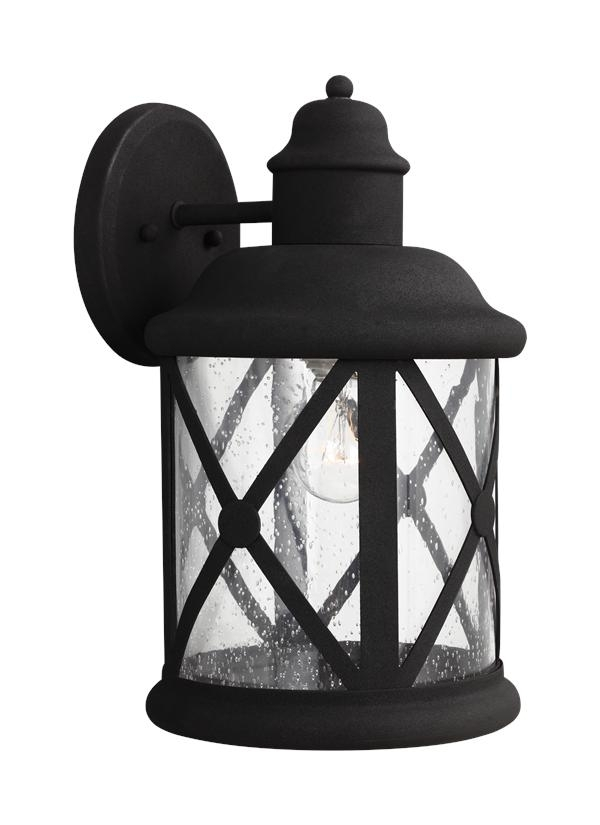 8721401-12,large One Light Outdoor Wall Lantern,black with regard to Outdoor Wall Lighting With Seeded Glass (Image 4 of 10)