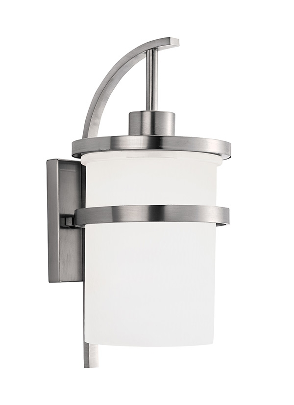 88119 962,one Light Outdoor Wall Lantern,brushed Nickel Inside Brushed Nickel Outdoor Wall Lighting (Gallery 9 of 10)